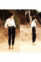 black Zara pants - white - brown