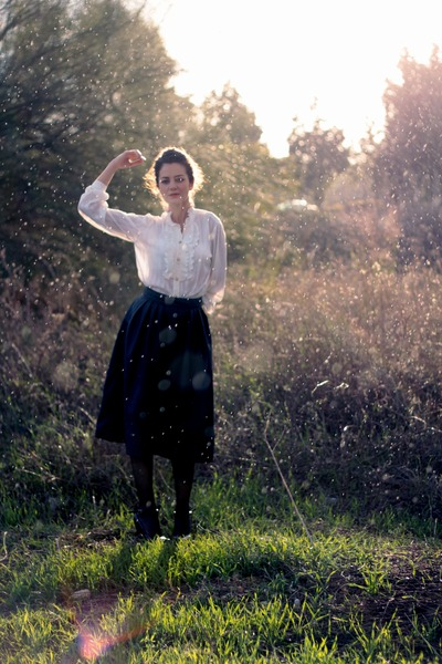 black H&M skirt - cream vintage blouse