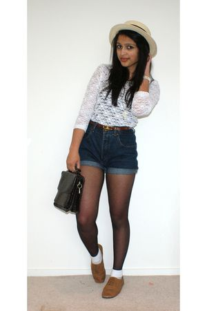 white thrifted top - shorts - brown rubi shoes - Glassons hat - thrifted belt