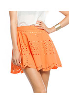 LIGHTEN UP LASER CUT SKIRT-TANGERINE