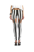 VERTICAL STRIPED BLACK AND WHITE GARTER BUTTON LEGGINGS- INSANE JUNGLE