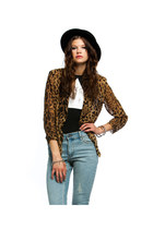 LEOPARD ANIMAL PRINT SHEER BLAZER TOP-INSANEJUNGLE