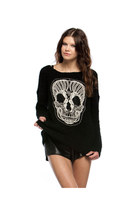 DARK SIDE BLACK SKULL EMBROIDERED CROCHET FUZZY SWEATER- INSANE JUNGLE
