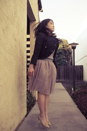 nude SM shoes - black H&M jacket - heather gray American Apparel sweatshirt - ne