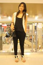 black sm department store - white sm department store vest - gold Celine - black