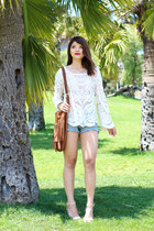 ivory lace crochet Sheinside top - tawny fringe H&M bag