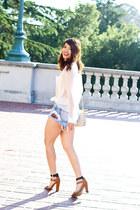 ivory vintage Chanel bag - light blue tapestry denim others follow shorts