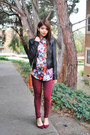 Crimson-skinny-urban-outfitters-jeans-dark-brown-leather-bebe-jacket