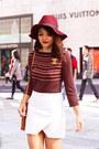 Crimson-h-m-hat-tawny-hobo-bags-bag-nude-wedges-strap-zara-heels