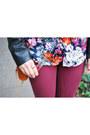 Crimson-skinny-urban-outfitters-jeans-dark-brown-leather-bebe-jacket