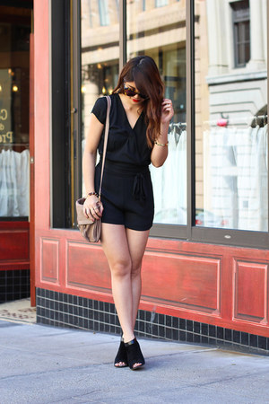 black lace Charlotte Russe romper - black suede Marc Fisher boots