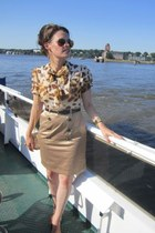 carrot orange Burberry dress - gold vintage bag - crimson Ray Ban glasses