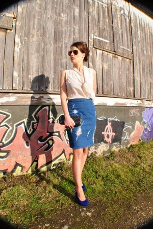 blue DIY skirt - black Juma bag - eggshell Zara blouse - crimson Ray Ban glasses