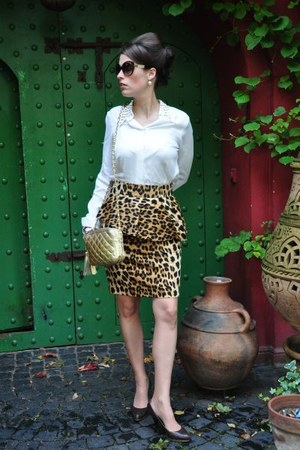 burnt orange Zara skirt - burnt orange Missoni glasses - ivory Zara blouse