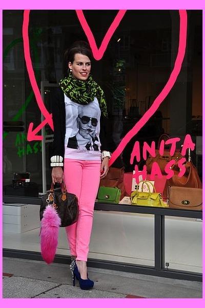 crimson Louis Vuitton scarf - hot pink Zara jeans - black Zara jacket