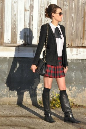 red no name skirt - black Gucci boots - black Hallhuber blazer