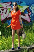 carrot orange DIY dress - aquamarine FASHIONNERDS necklace