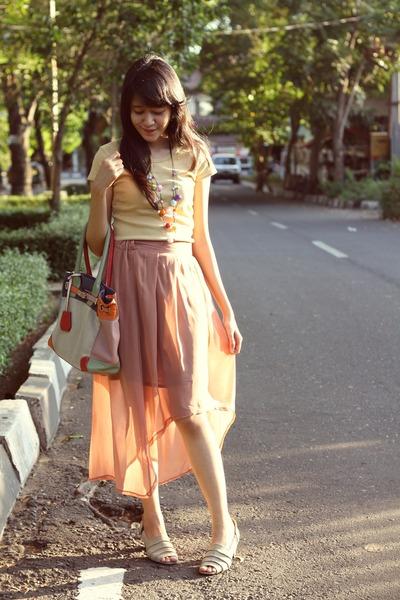 camel cotton shirt - Gosh bag - coral chiffon skirt