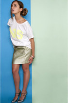 light yellow N15 t-shirt - lime green H&M skirt - silver Miu Miu heels