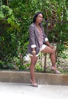 brown Necessary Objects blazer - pink Forever 21 shirt - beige NY & Co shorts -