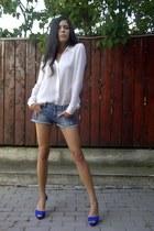 blue Zara pumps - studded collar Zara shirt - Zara-TRF shorts