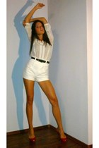 high-waisted Zara shorts - ethnic Zara-TRF shirt - patent leather Zara pumps