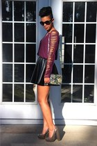 leather skirts skirt - snakeskin bag - sunglasses - edgy blouse