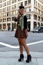 Leather-booties-shoes-leopard-dress-cargo-jacket-denim-vintage-bag