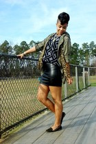 vintage sweater - studded shoes - army jacket - faux fur loafers