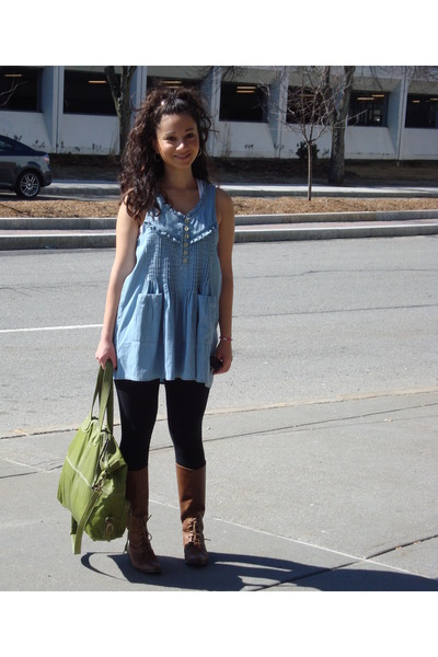 Blue Dresses Brown Boots Green Accessories Black ...