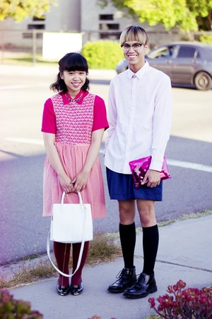 black shoes - bubble gum lace American Apparel dress - light pink H&M shirt