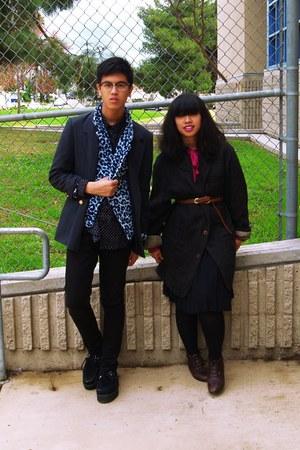 dark gray coat - navy skirt - hot pink shirt - light blue jacket - navy jacket -