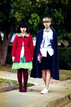 light blue Anthropologie skirt - red coat - gray cape