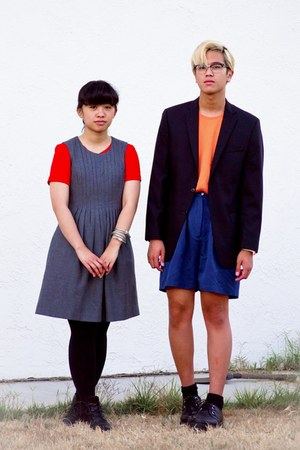 heather gray dress - carrot orange dress - light orange H&amp;M shirt - navy shorts