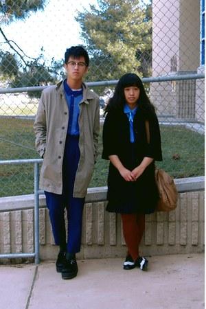 dark khaki H&M coat - blue sheer H&M shirt - blue shirt - dark brown tights - bl