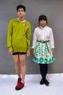 Red-creeper-demonia-shoes-chartreuse-h-m-sweater-white-ralph-lauren-shirt-