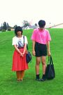 Red-skirt-pink-american-apparel-shirt-black-h-m-shorts-white-cotton-on-shi