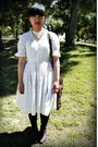 White-anthropologie-dress-red-h-m-hat-red-blazer-black-urban-outfitters-ve