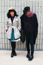 beige Gap coat - purple Forever 21 vest - green kohls dress - black H&M top - bl