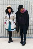 beige Gap coat - purple Forever 21 vest - green kohls dress - black H&M top - bl