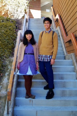 amethyst dress - mustard sweater - brick red plaid shirt - dark brown tights - t