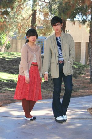 blue kohls jeans - red skirt - black shirt - beige Gap jacket - beige cardigan -