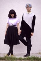 black thrift dress - navy American Apparel jeans - black H&M sweater