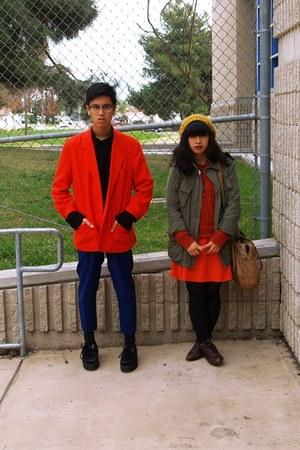 red Grandmas jacket - navy pants - black Forever 21 sweater - red moms dress - b