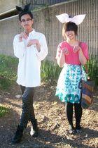 white Ralph Lauren shirt - black Charlotte Russe pants - green Forever 21 skirt