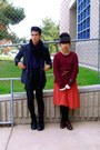Navy-grandmas-jacket-red-skirt-maroon-sweater-black-h-m-shorts