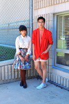 red blazer - white shirt - light pink H&M shorts - sky blue floral skirt - coral
