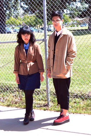 brown blazer - navy H&amp;M dress - camel corduroy Liz Claibourne coat
