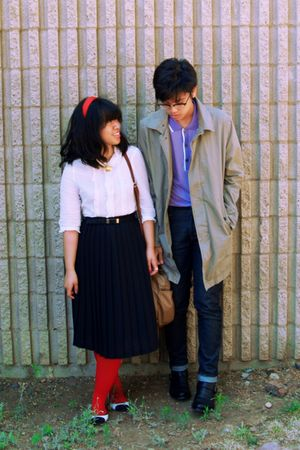 red tights - blue jeans - beige coat - purple shirt - black skirt - white shoes