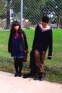 Black-dr-martens-boots-navy-h-m-sweater-dark-gray-thrifted-blazer-hot-pink